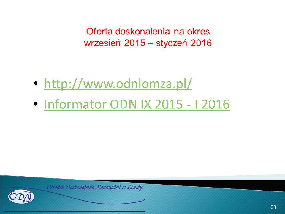 http://www.odnlomza.pl/ Informator ODN IX 2015 - I 2016 83 Oferta doskonalenia na okres wrzesień 2015 – styczeń 2016