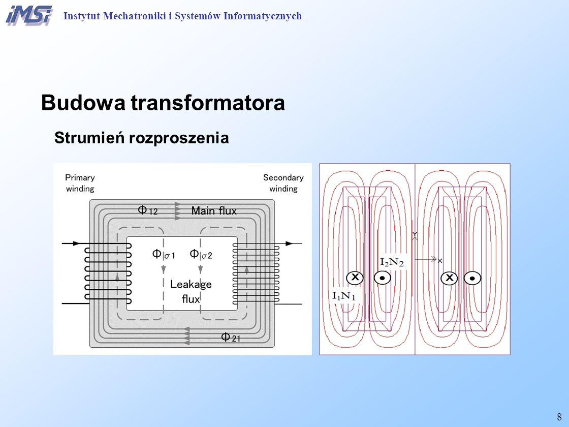9 Zasada działania transformatora idealnego Równanie mocy: Przekładnia napięć fazowych: Stosunek prądów fazowych: Instytut Mechatroniki i Systemów Informatycznych
