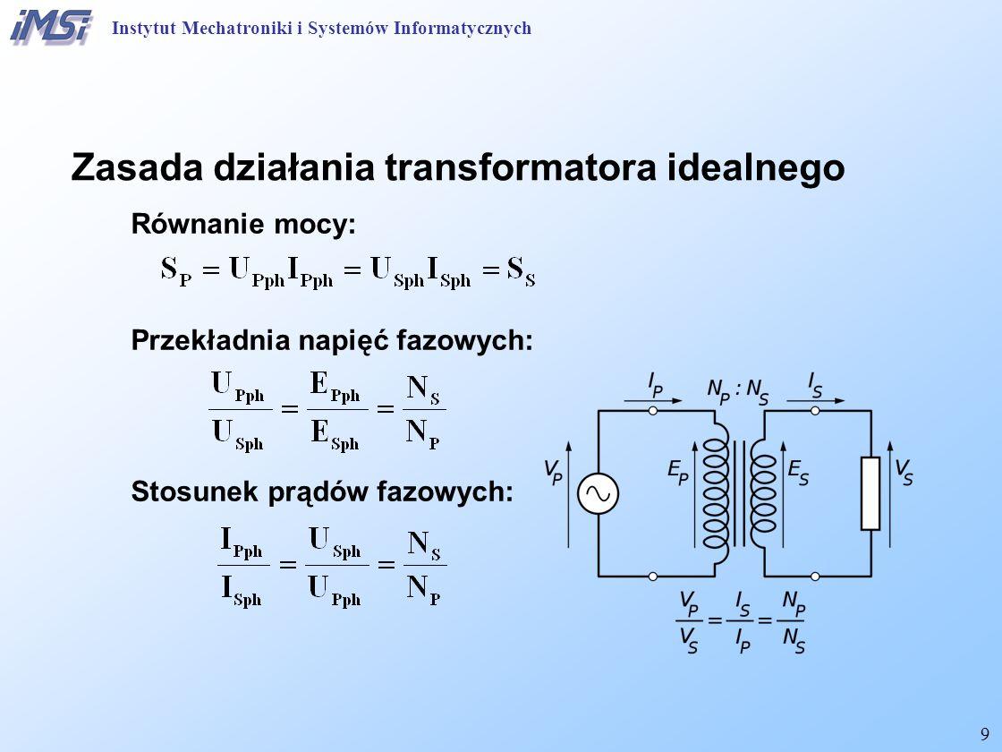 10 Transformator Siła elektromotoryczna (SEM): Strumień: stąd: W warunkach stanu jałowego (bez obciążenia): Instytut Mechatroniki i Systemów Informatycznych