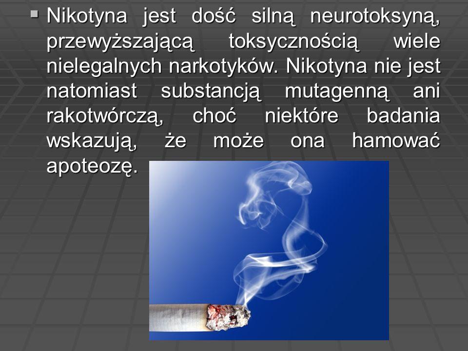  Nikotyna jest dość silną neurotoksyną, przewyższającą toksycznością wiele nielegalnych narkotyków. Nikotyna nie jest natomiast substancją mutagenną