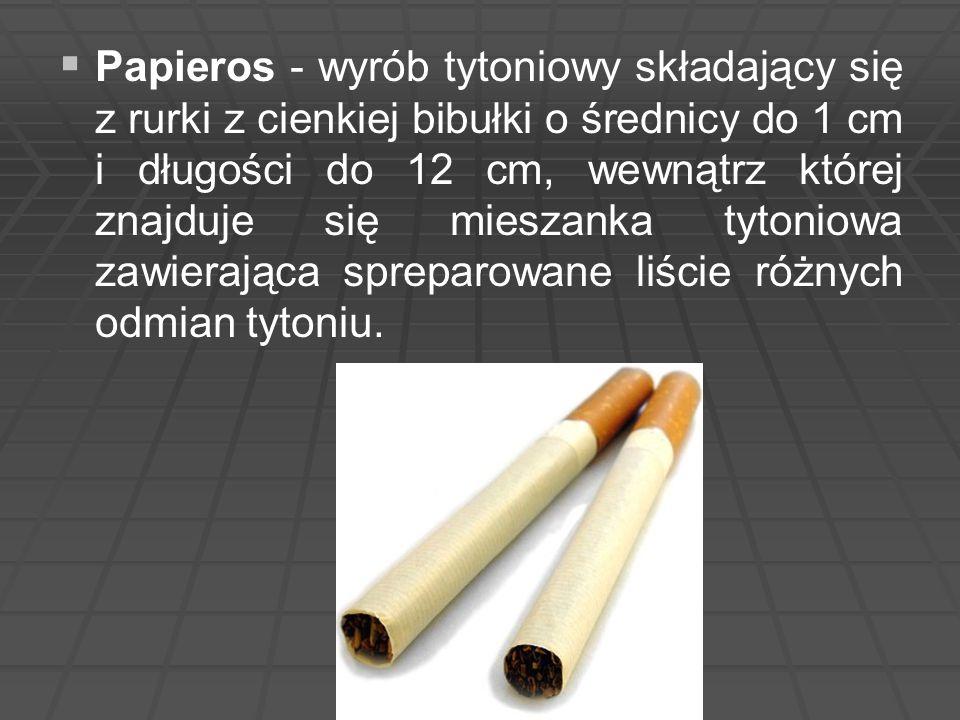  Papieros - wyrób tytoniowy składający się z rurki z cienkiej bibułki o średnicy do 1 cm i długości do 12 cm, wewnątrz której znajduje się mieszank