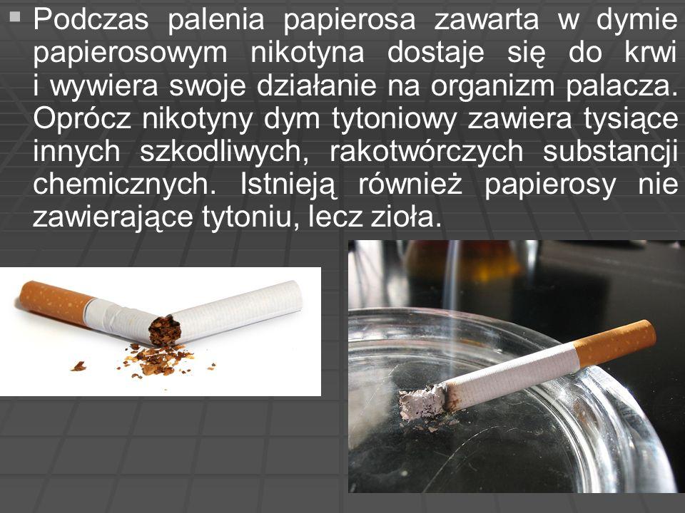   Podczas palenia papierosa zawarta w dymie papierosowym nikotyna dostaje się do krwi i wywiera swoje działanie na organizm palacza. Oprócz nikotyny
