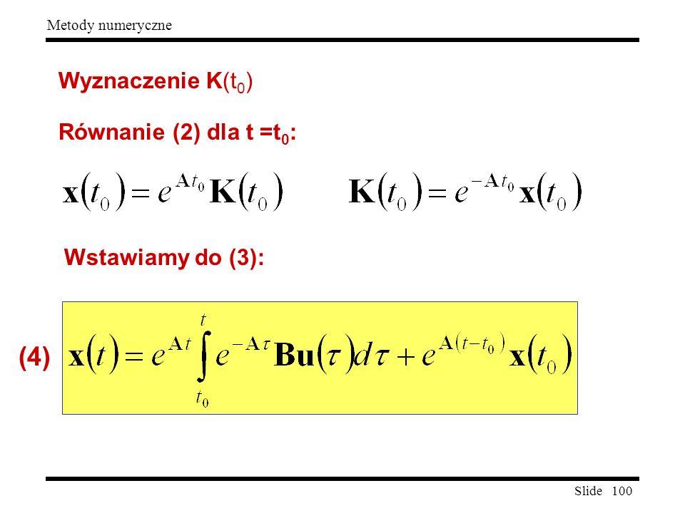 Slide 100 Metody numeryczne Wyznaczenie K(t 0 ) Równanie (2) dla t =t 0 : Wstawiamy do (3): (4)
