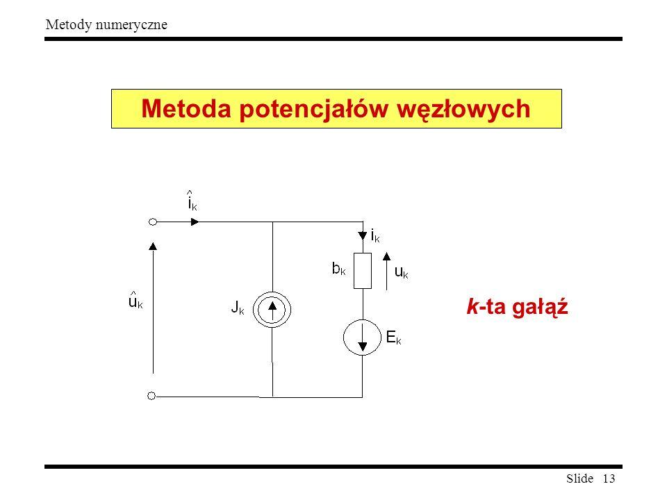 Slide 13 Metody numeryczne k-ta gałąź Metoda potencjałów węzłowych