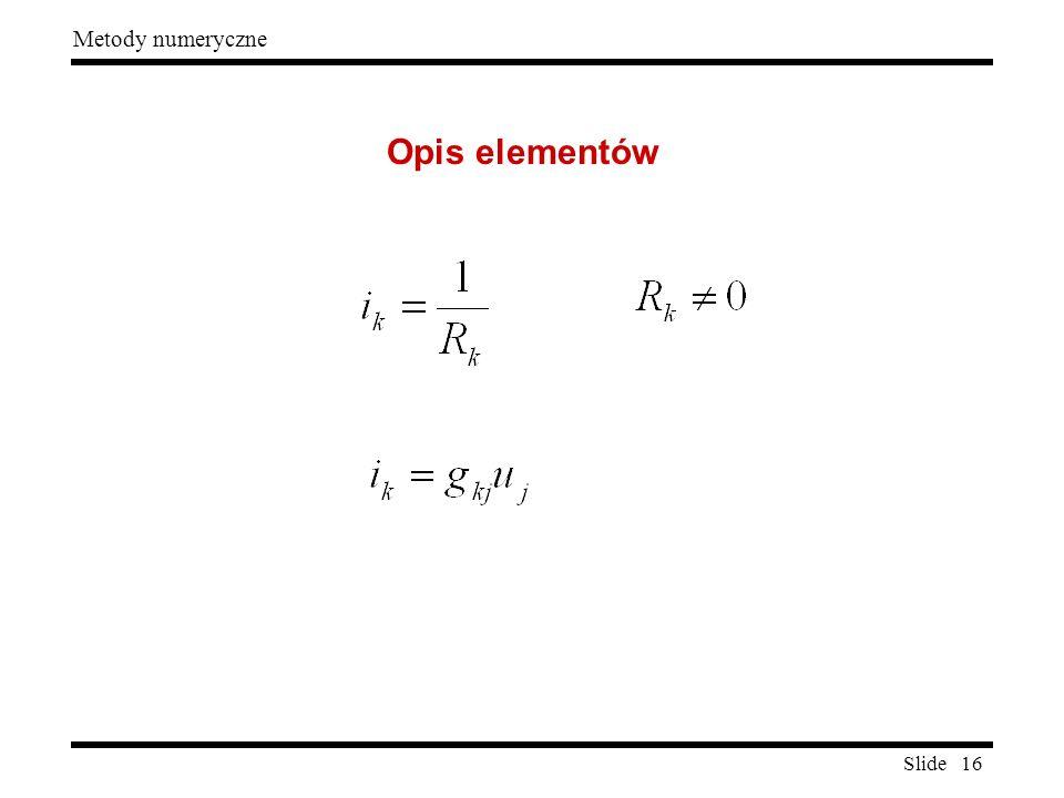 Slide 16 Metody numeryczne Opis elementów