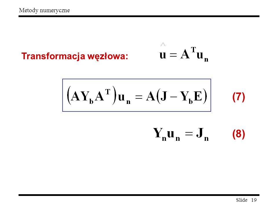Slide 19 Metody numeryczne Transformacja węzłowa: (7) (8)