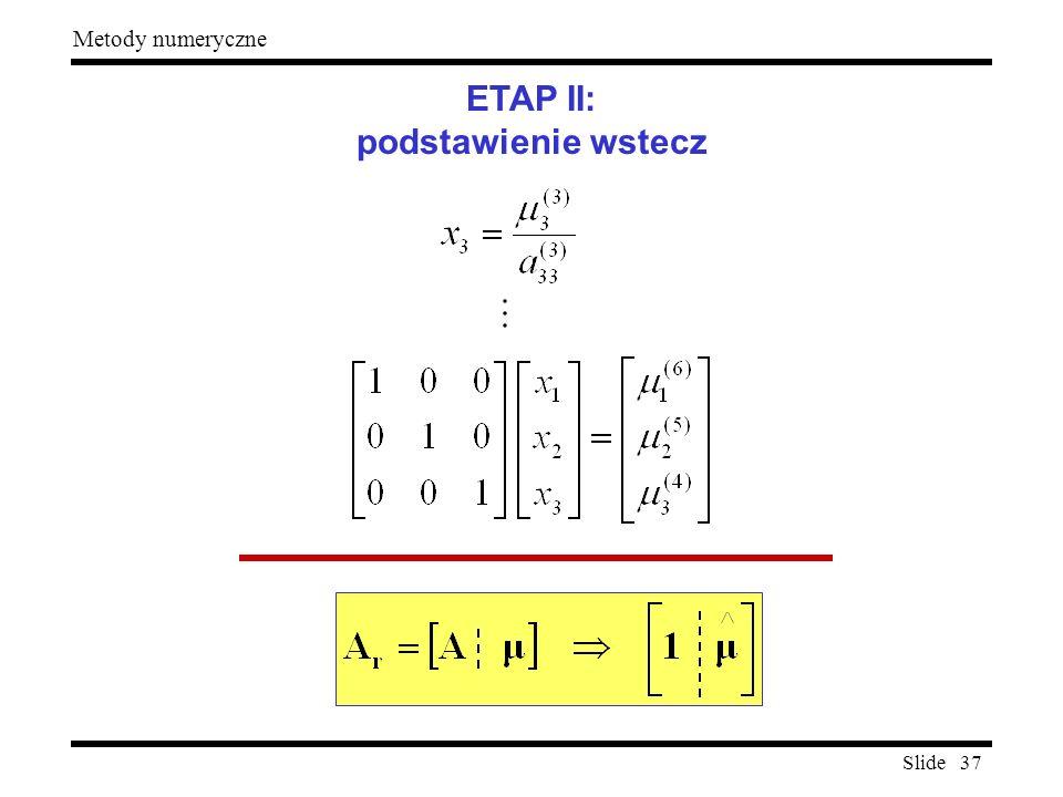 Slide 37 Metody numeryczne ETAP II: podstawienie wstecz