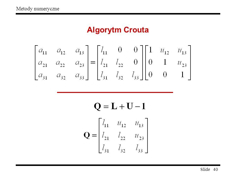 Slide 40 Metody numeryczne Algorytm Crouta