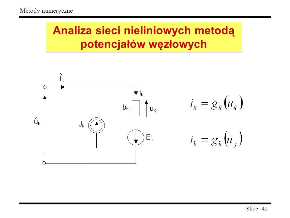 Slide 42 Metody numeryczne Analiza sieci nieliniowych metodą potencjałów węzłowych