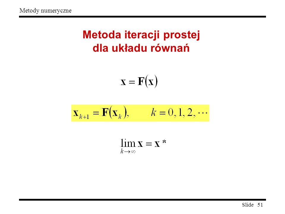 Slide 51 Metody numeryczne Metoda iteracji prostej dla układu równań