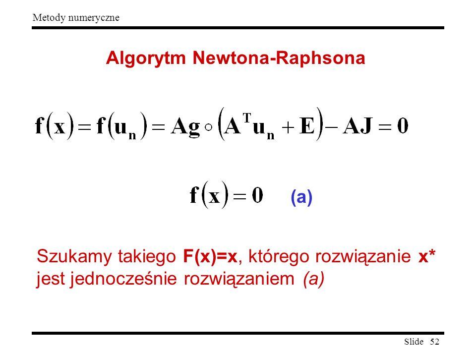 Slide 52 Metody numeryczne Algorytm Newtona-Raphsona Szukamy takiego F(x)=x, którego rozwiązanie x* jest jednocześnie rozwiązaniem (a) (a)