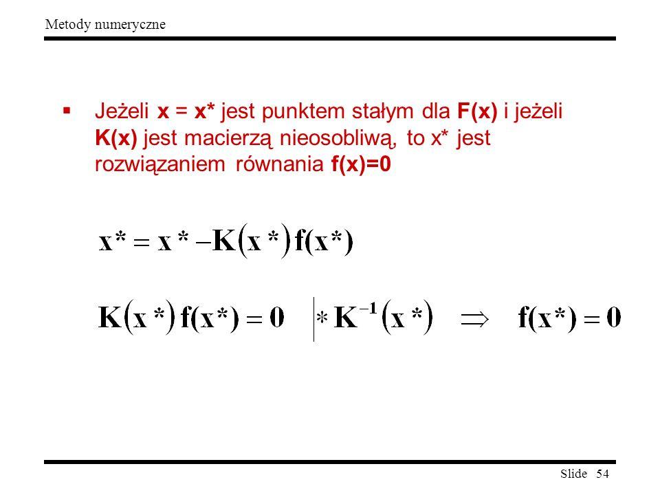 Slide 54 Metody numeryczne  Jeżeli x = x* jest punktem stałym dla F(x) i jeżeli K(x) jest macierzą nieosobliwą, to x* jest rozwiązaniem równania f(x)