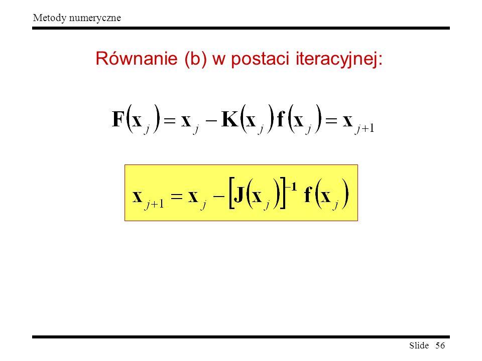 Slide 56 Metody numeryczne Równanie (b) w postaci iteracyjnej: