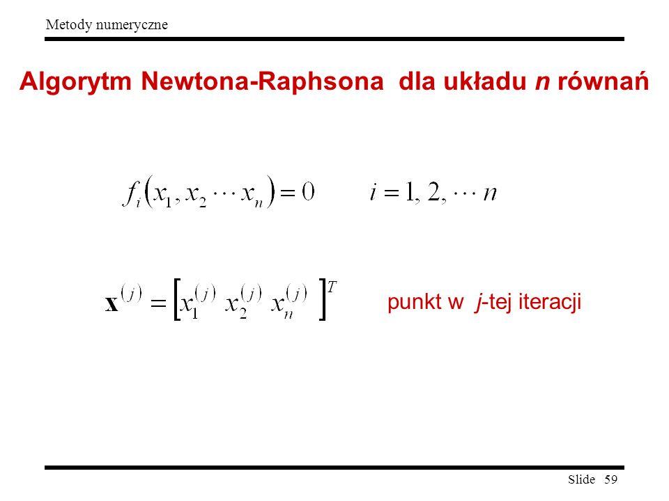Slide 59 Metody numeryczne Algorytm Newtona-Raphsona dla układu n równań punkt w j-tej iteracji