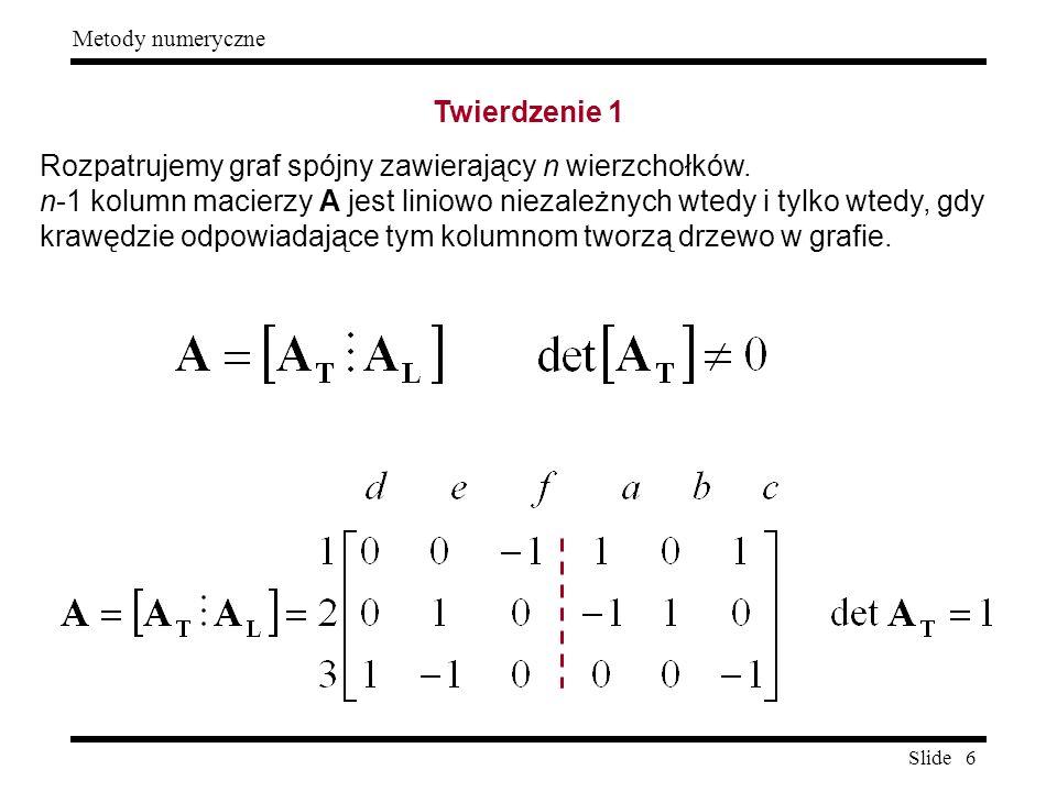 Slide 6 Metody numeryczne Twierdzenie 1 Rozpatrujemy graf spójny zawierający n wierzchołków. n-1 kolumn macierzy A jest liniowo niezależnych wtedy i t