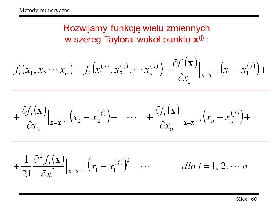 Slide 60 Metody numeryczne Rozwijamy funkcję wielu zmiennych w szereg Taylora wokół punktu x (j) :