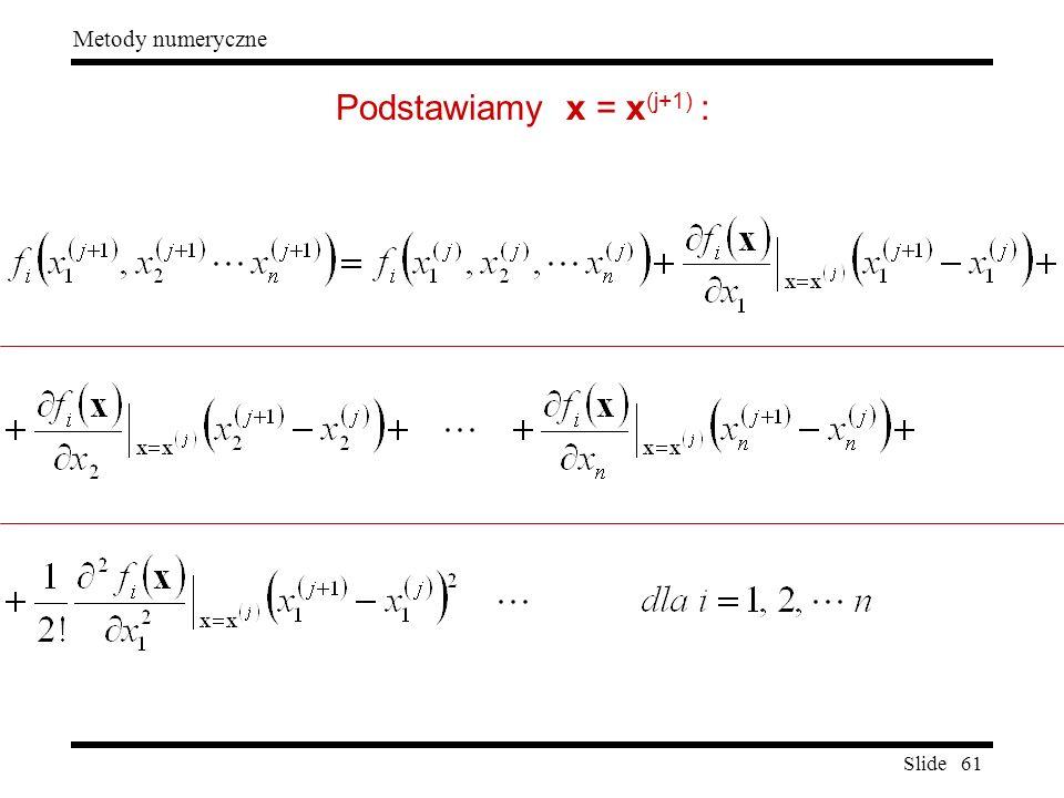 Slide 61 Metody numeryczne Podstawiamy x = x (j+1) :