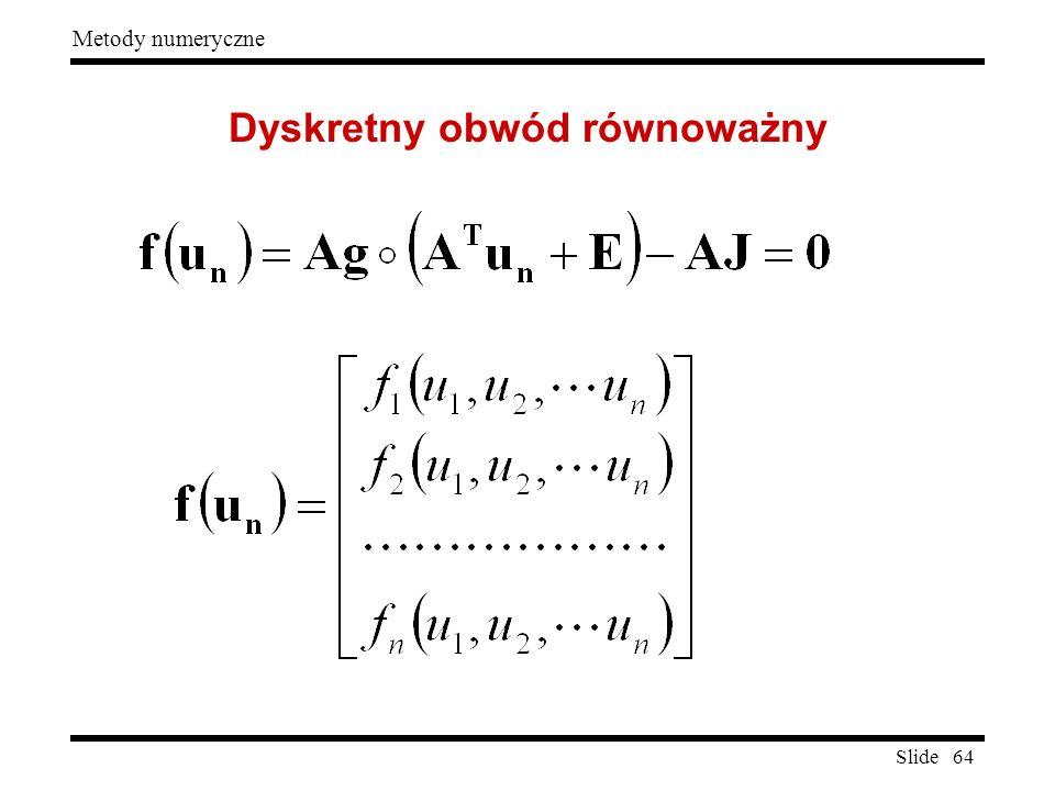 Slide 64 Metody numeryczne Dyskretny obwód równoważny