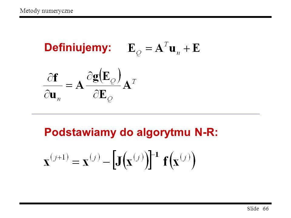Slide 66 Metody numeryczne Definiujemy: Podstawiamy do algorytmu N-R: