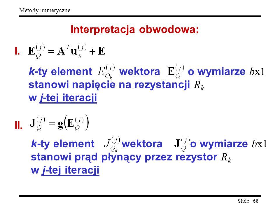 Slide 68 Metody numeryczne Interpretacja obwodowa: I. k-ty element wektora o wymiarze bx1 stanowi napięcie na rezystancji R k w j-tej iteracji II. k-t