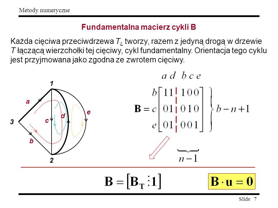 Slide 7 Metody numeryczne Fundamentalna macierz cykli B Każda cięciwa przeciwdrzewa T L tworzy, razem z jedyną drogą w drzewie T łączącą wierzchołki t