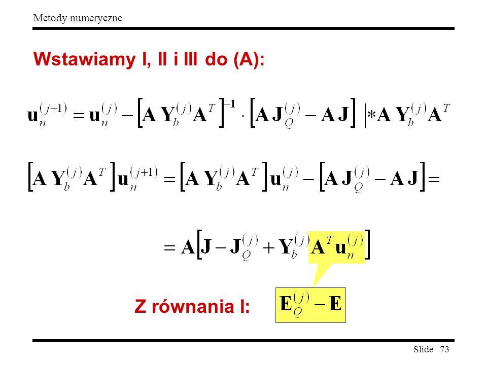 Slide 73 Metody numeryczne Wstawiamy I, II i III do (A): Z równania I: