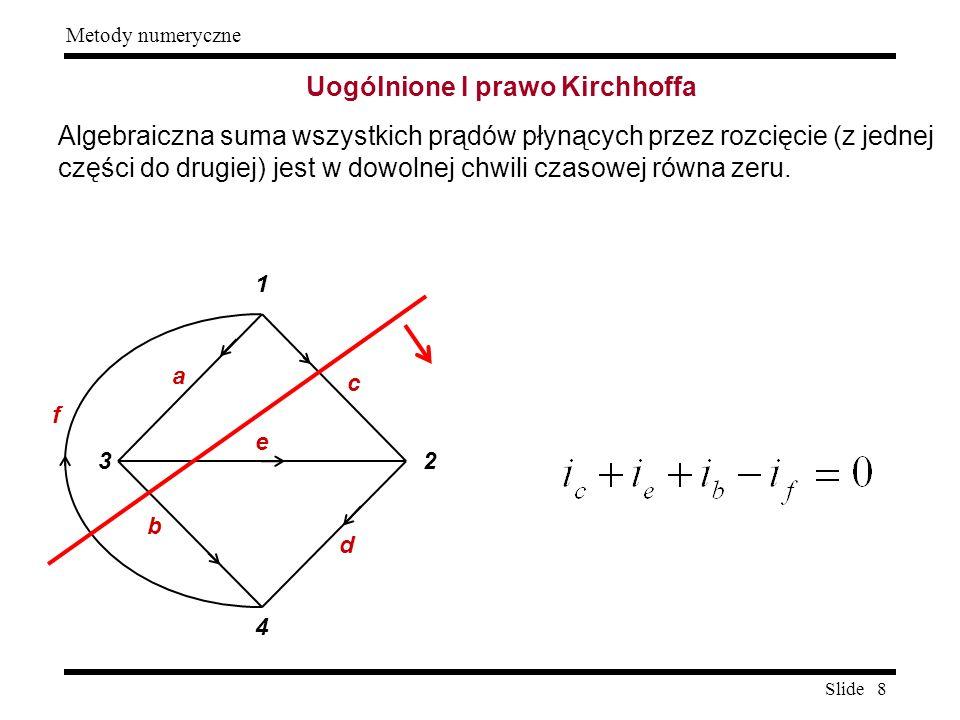 Slide 8 Metody numeryczne Uogólnione I prawo Kirchhoffa Algebraiczna suma wszystkich prądów płynących przez rozcięcie (z jednej części do drugiej) jes