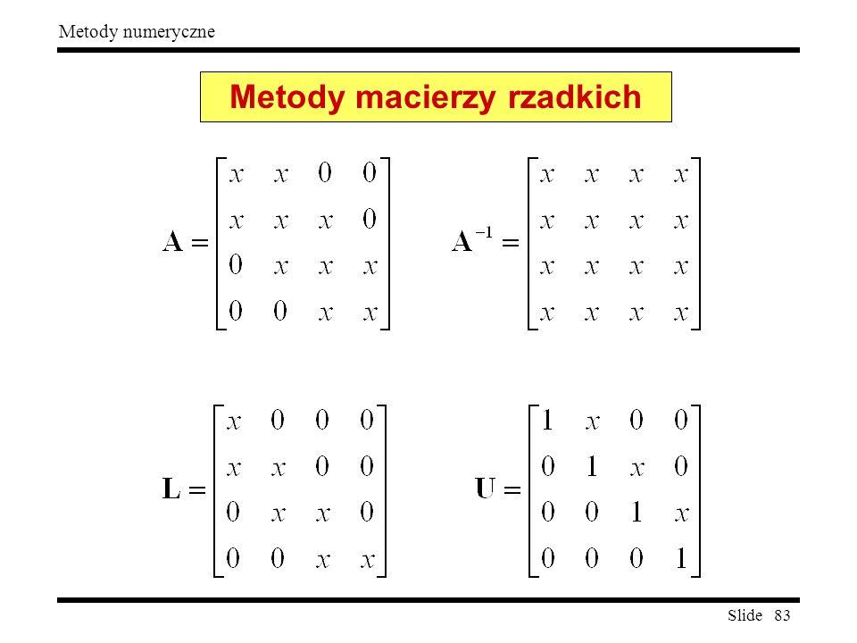 Slide 83 Metody numeryczne Metody macierzy rzadkich