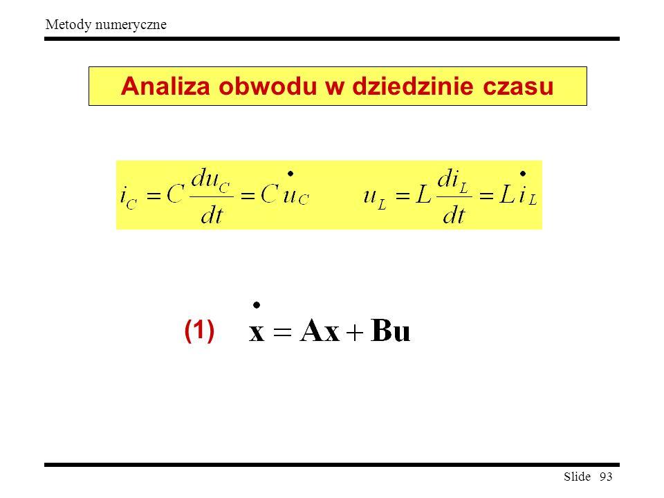 Slide 93 Metody numeryczne Analiza obwodu w dziedzinie czasu (1)