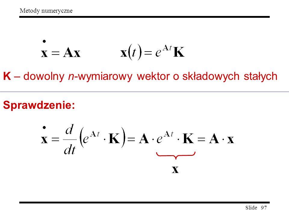 Slide 97 Metody numeryczne K – dowolny n-wymiarowy wektor o składowych stałych Sprawdzenie:
