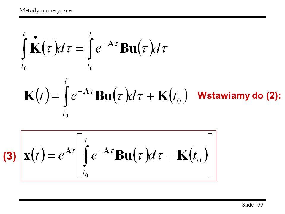 Slide 99 Metody numeryczne Wstawiamy do (2): (3)