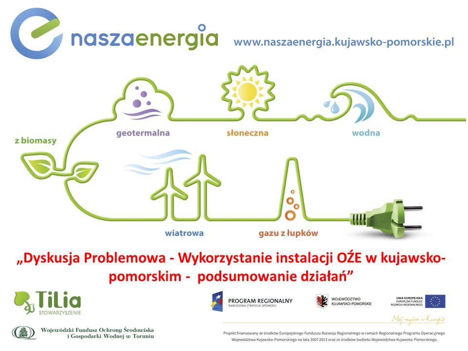 WPROWADZENIE Konferencja Podsumowująca Dyskusja Problemowa - Wykorzystanie instalacji OŹE w kujawsko-pomorskim - podsumowanie działań Konferencja w ramach projektu: Promocja odnawialnych źródeł energii oraz nowoczesnych systemów dywersyfikujących źródła i sposoby ich wykorzystania jako element ochrony środowiska przyrodniczego w województwie kujawsko-pomorskim