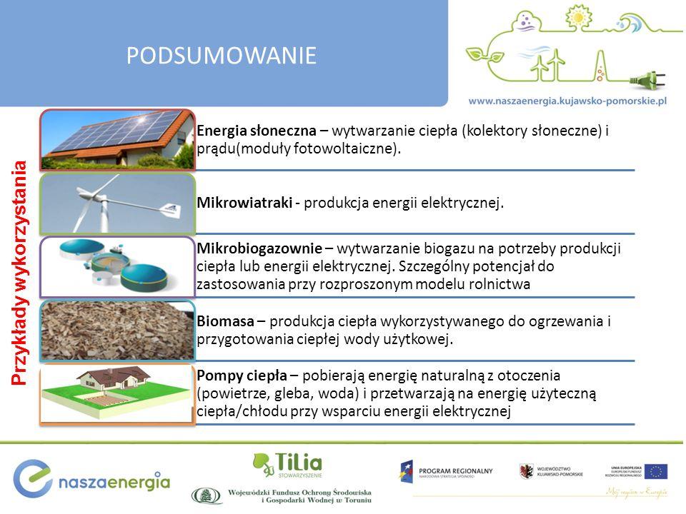 Przykłady wykorzystania Energia słoneczna – wytwarzanie ciepła (kolektory słoneczne) i prądu(moduły fotowoltaiczne). Mikrowiatraki - produkcja energii
