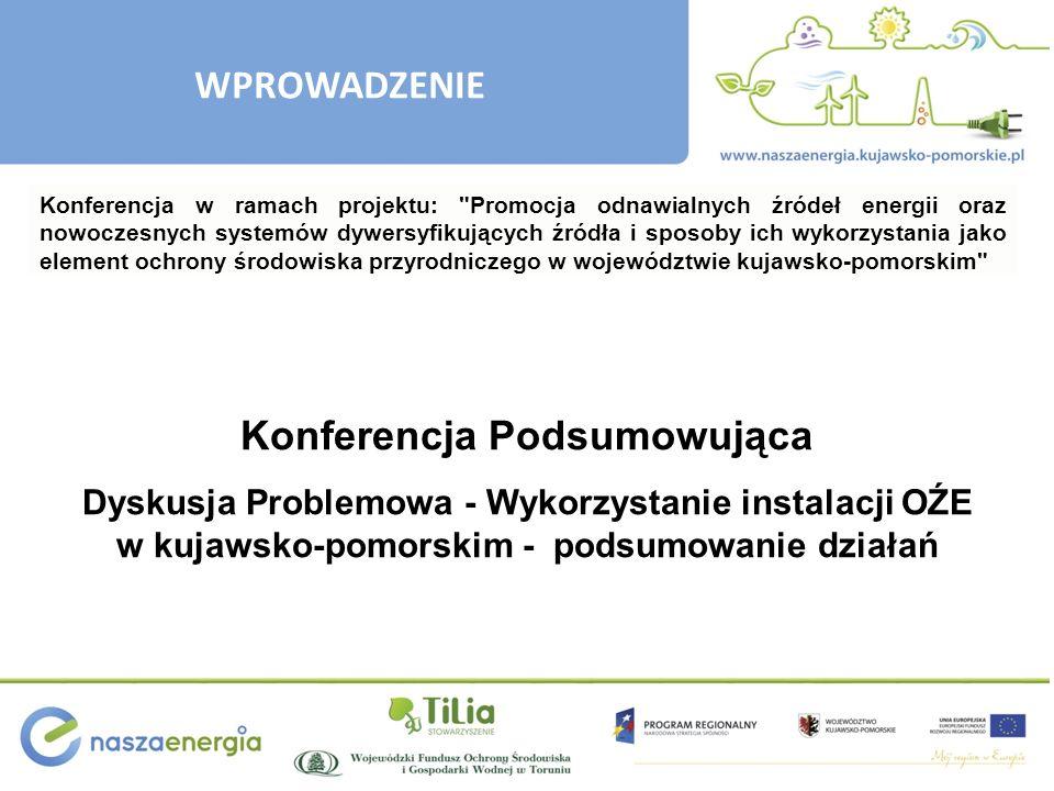 WPROWADZENIE Konferencja Podsumowująca Dyskusja Problemowa - Wykorzystanie instalacji OŹE w kujawsko-pomorskim - podsumowanie działań Konferencja w ra