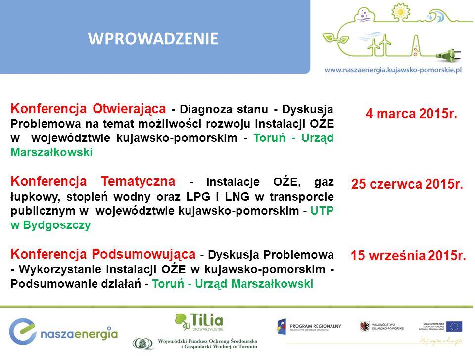 WPROWADZENIE Konferencja Otwierająca - Diagnoza stanu - Dyskusja Problemowa na temat możliwości rozwoju instalacji OŹE w województwie kujawsko-pomorsk
