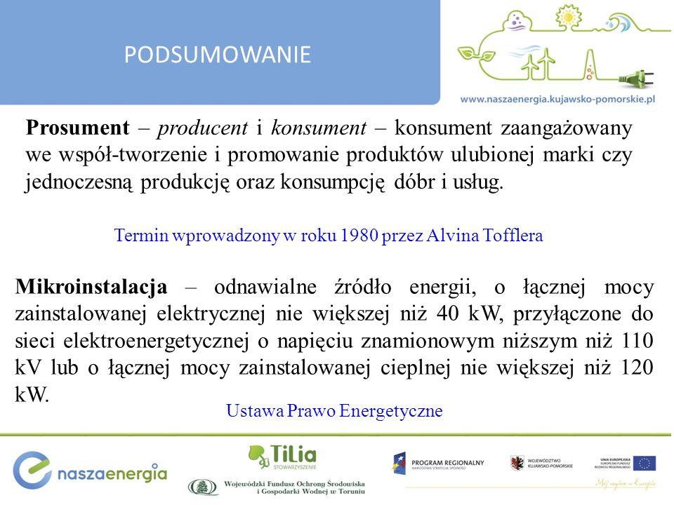 PODSUMOWANIE Pojawienie się mikroinstalacji prosumenckich spowodować musi zmianę wyobrażenia o funkcjonowaniu systemu elektroenergetycznego (na poziomie sieci niskiego napięcia) oraz zmianę świadomości konsumenta energii elektrycznej w zakresie jej zużycia i wytwarzania