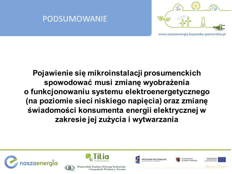 PODSUMOWANIE Pojawienie się mikroinstalacji prosumenckich spowodować musi zmianę wyobrażenia o funkcjonowaniu systemu elektroenergetycznego (na poziom