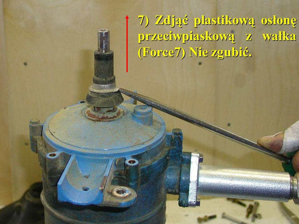 7) Zdjąć plastikową osłonę przeciwpiaskową z wałka (Force7) Nie zgubić.