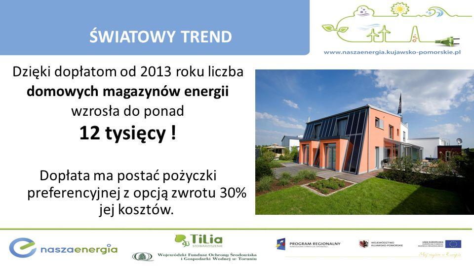 Dzięki dopłatom od 2013 roku liczba domowych magazynów energii wzrosła do ponad 12 tysięcy ! Dopłata ma postać pożyczki preferencyjnej z opcją zwrotu