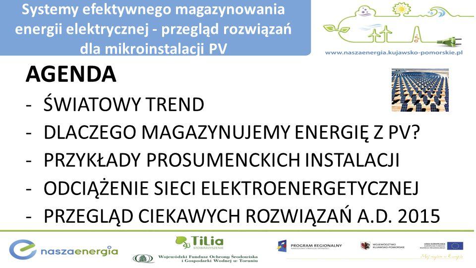 Systemy efektywnego magazynowania energii elektrycznej - przegląd rozwiązań dla mikroinstalacji PV AGENDA -ŚWIATOWY TREND -DLACZEGO MAGAZYNUJEMY ENERG