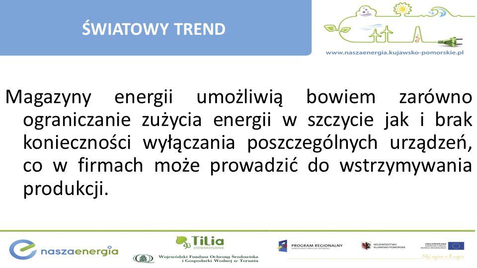 ŚWIATOWY TREND Magazyny energii umożliwią bowiem zarówno ograniczanie zużycia energii w szczycie jak i brak konieczności wyłączania poszczególnych urz