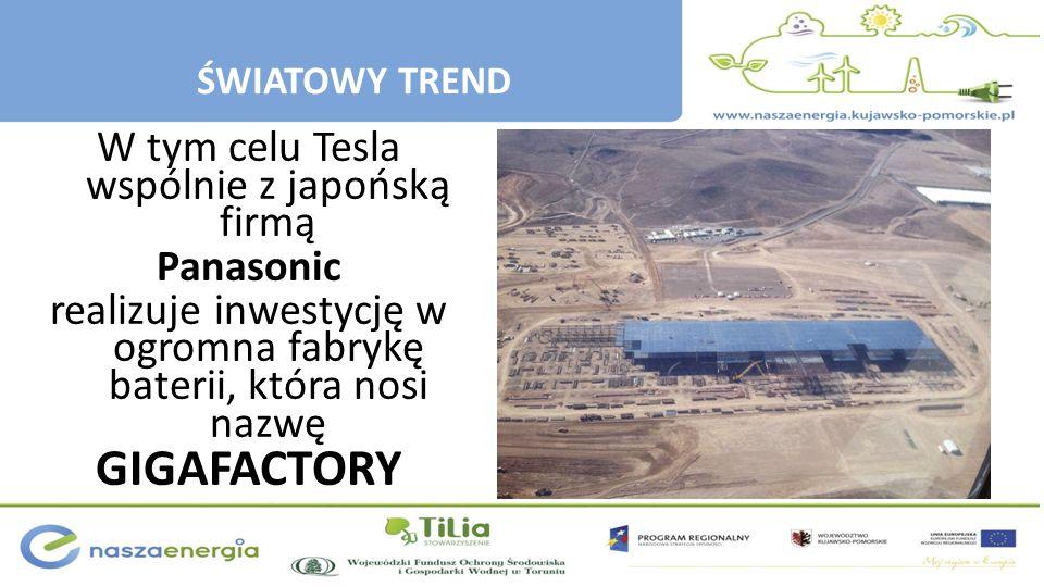 W tym celu Tesla wspólnie z japońską firmą Panasonic realizuje inwestycję w ogromna fabrykę baterii, która nosi nazwę GIGAFACTORY ŚWIATOWY TREND