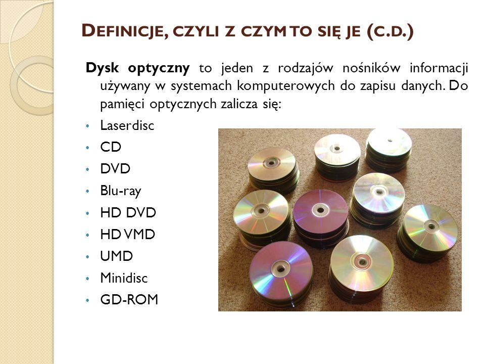 D EFINICJE, CZYLI Z CZYM TO SIĘ JE ( C. D.) Dysk optyczny to jeden z rodzajów nośników informacji używany w systemach komputerowych do zapisu danych.