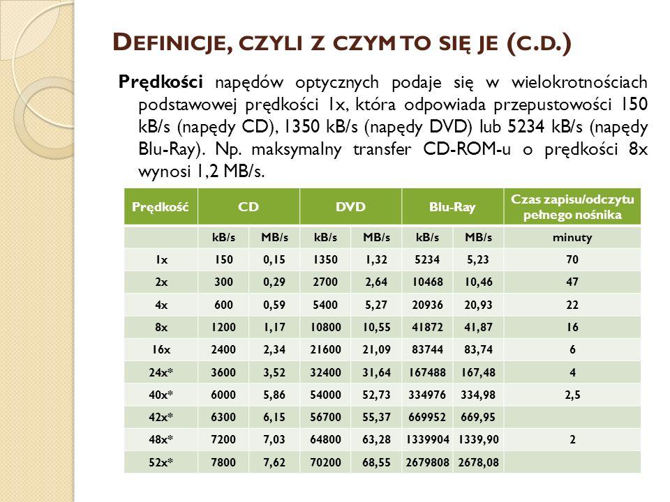 D EFINICJE, CZYLI Z CZYM TO SIĘ JE ( C. D.) Prędkości napędów optycznych podaje się w wielokrotnościach podstawowej prędkości 1x, która odpowiada prze