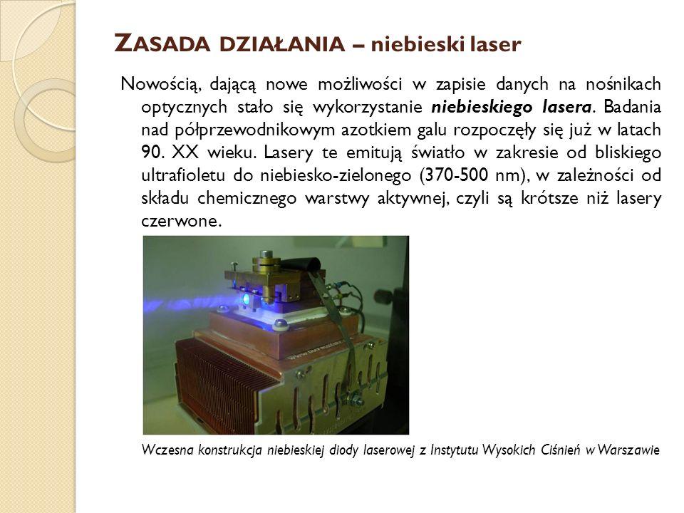 Z ASADA DZIAŁANIA – niebieski laser HD DVD – płytki o standardowej średnicy 12cm i grubości 1,2mm ma możliwości zapisu od 15 do 40GB danych na płytkach jedno- i dwustronnych oraz jedno- i dwustronnych; wykorzystuje długość fali światła lasera: 405nm i co człowiek odbiera jako kolor bardziej purpurowy Blu-ray – Ten typ nośnika pozwala na zapisanie 25GB danych na płytach jednowarstwowych.
