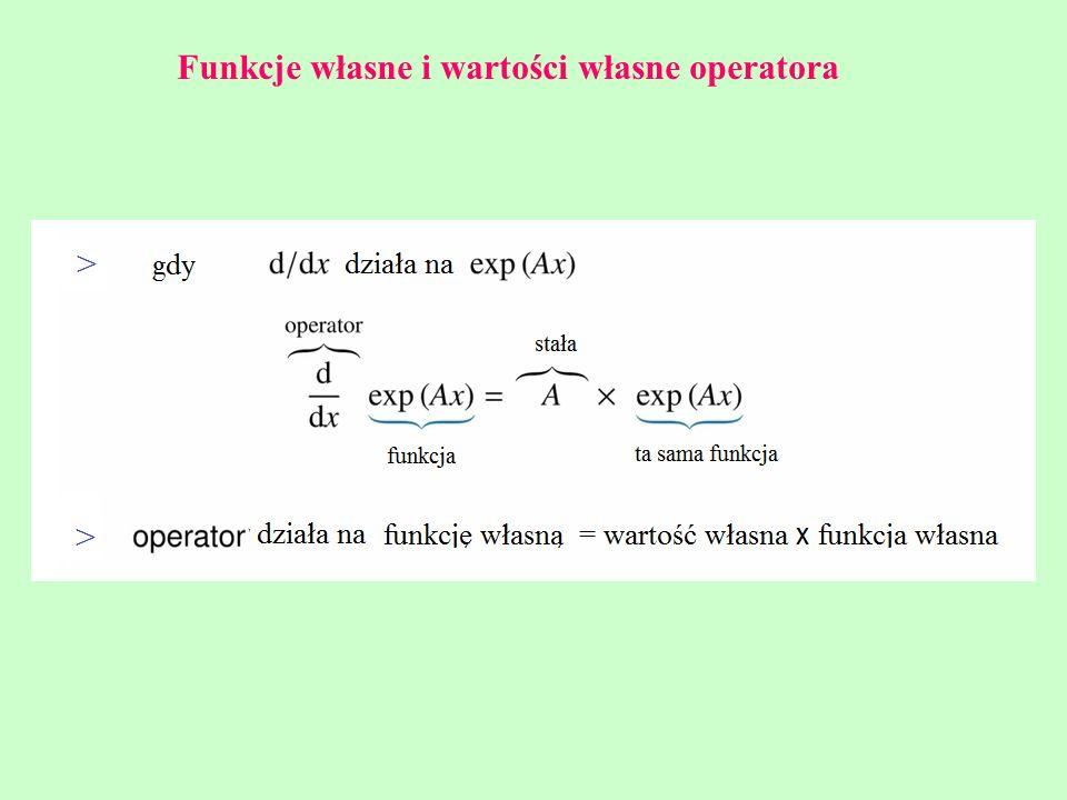 Funkcje własne i wartości własne operatora