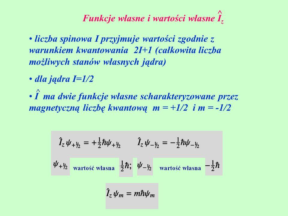 Funkcje własne i wartości własne I z ^ liczba spinowa I przyjmuje wartości zgodnie z warunkiem kwantowania 2I+1 (całkowita liczba możliwych stanów wła
