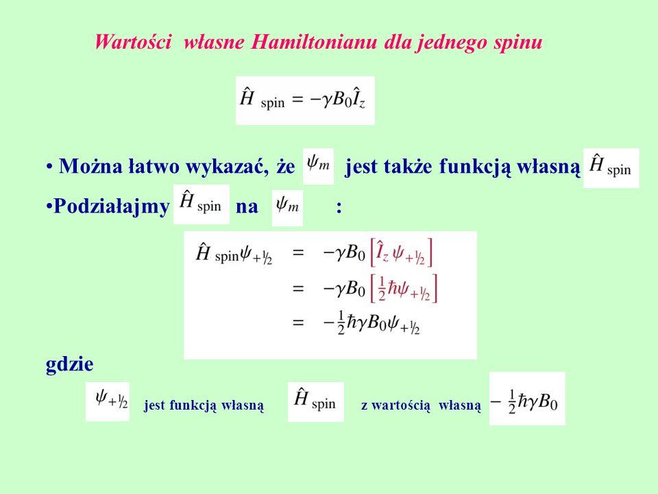 Wartości własne Hamiltonianu dla jednego spinu Można łatwo wykazać, że jest także funkcją własną Podziałajmy na : gdzie z wartością własnąjest funkcją