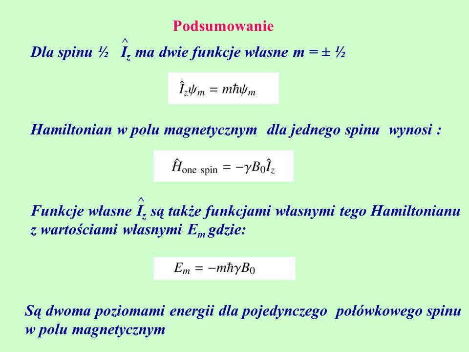 Podsumowanie Hamiltonian w polu magnetycznym dla jednego spinu wynosi : Dla spinu ½ I z ma dwie funkcje własne m = ± ½ ^ Funkcje własne I z są także f
