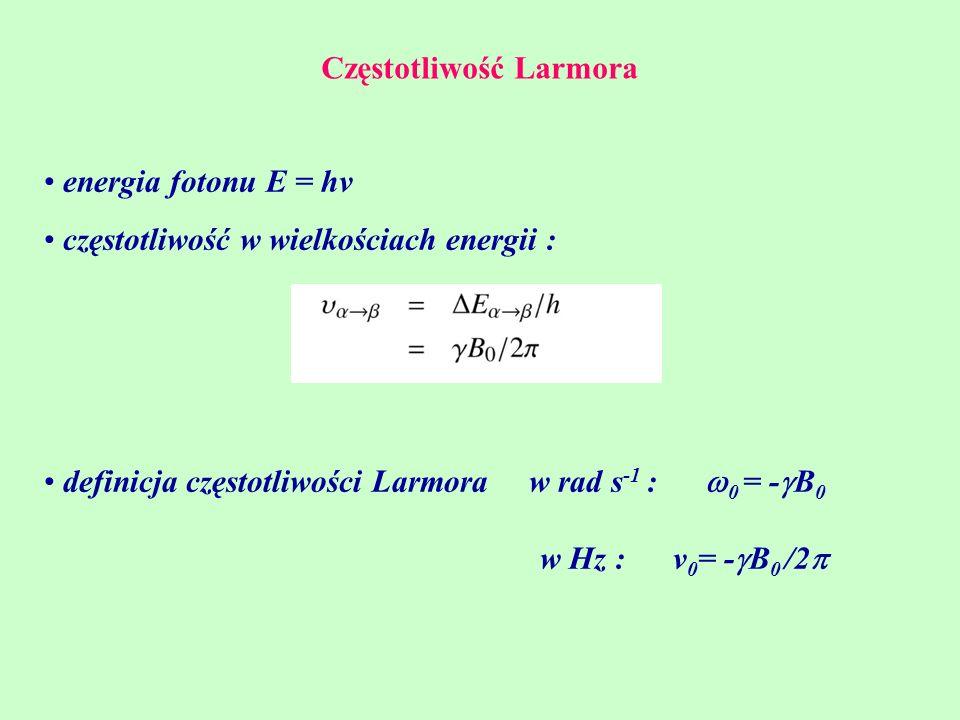 Częstotliwość Larmora energia fotonu E = hv częstotliwość w wielkościach energii : definicja częstotliwości Larmora w rad s -1 :  0 = -  B 0 w Hz :
